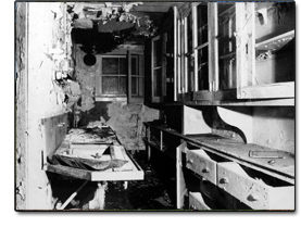 Damaged Kitchen in the 1970's